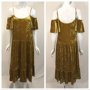 Rebecca Minkoff Yellow Gold Crushed Velvet Dress
